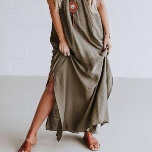Long Olive Summer Dress